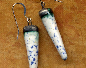 White Periwinkle Blue Hand made Porcelain Organic Spikes 925 Silver Earrings Sterling Silver Organic Blue Bronze Ceramic Earrings 925 silver