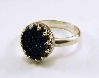 Sterling Silver and Druzy Quart Ring - Size 8 - can be resized