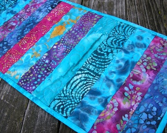Quilted Table Runner, Batiks Rainbow Stippy Runner, 13 x 38 1/2 inches
