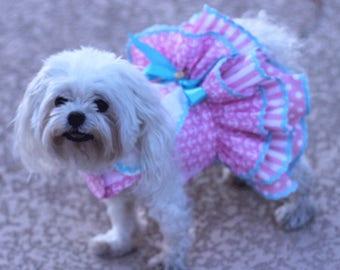 Dog Dress, Dog Harness Dress, Dog Fashion for Small Dog, Ruffle Dress for Dogs, Summer Dress for dog, Sailor Dog Dress , Handmade, Pink