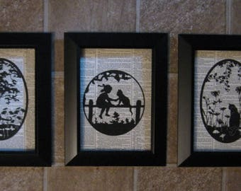"Silhouettes of Cats on Vintage Dictionary Page Prints - Set of 3 - 5"" x 7"""