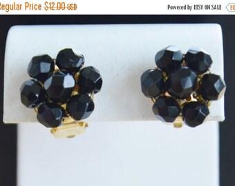 On sale Pretty Vintage Black Faux Crystal Clip Earrings, Gold tone