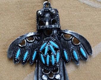 "On sale Faux Turquoise Thunderbird Pendant Necklace, Southwest, Darkened Silver tone, 20"" (AR6)"