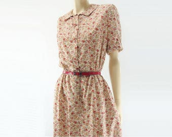 1950s Floral Dress Vintage 50s Dress 1950s Cotton Dress  50s Red Floral Dress 50s Shirtwaist Dress Medium m