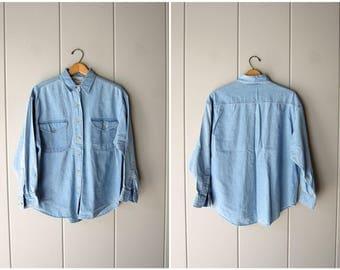 90s LINEN & Cotton Shirt Thin Denim Shirt Button Up Light Blue Jean Shirt Minimal Button Up Casual Linen Blouse Womens Small Medium