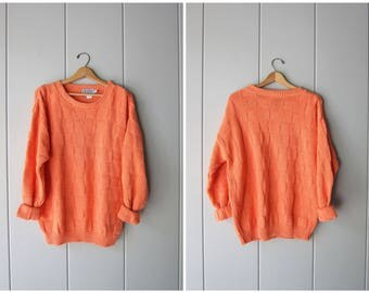 Oversized Textured Cotton Sweater Orange 80s 90s Retro Summer Pullover Long Sleeve Slouchy Sweater Shirt Vintage Womens Mens Large