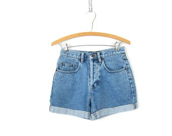Light Wash Blue Jean Shorts High Waist Denim Shorts Vintage Roll Cuff MOM Shorts Button Fly Shorts Hipster Street Style Women Size 28