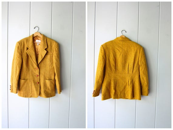 Vintage 80s MUSTARD Yellow Wool Tweed Blazer Heavy Wool Jacket Button Up Preppy Fall Coat Modern Boho Prep Jacket Womens Medium Large