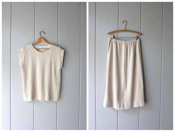 Minimal Knit Cotton Top & Skirt SET Natural Woven Knit Cotton Vintage Boxy Top Elastic Waist Skirt Woven Fiber Modern Womens Medium Large