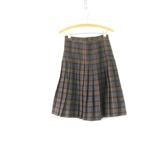 Gray & Brown Plaid Wool Skirt School Girl PLEATED High Waisted Preppy Kilt Skirt Vintage Lolita Knee Length Skirt Womens Size Small