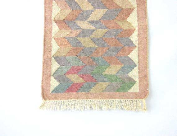 Vintage Southwestern WOOL Rug Pastel Blue White Pink Tribal Art Tapestry Navajo Pattern Throw Rug Southwest Ranch Home Decor 25 x 40