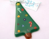 Fused Art Glass Christmas Tree Ornament Forest Green