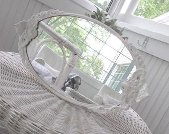 Vintage Mirror * Dresser * Vanity * Perfume Tray * Shabby Chic * Cottage * White * Oval