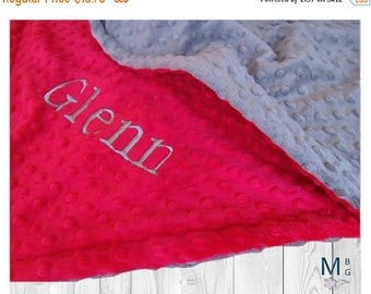 SALE Red and Gray Minky Dot Minky Baby Blanket, three sizesCan Be Personalized