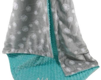 SALE Silver Gray Dandelion Print With Breeze Teal Minky Dot Minky Baby Blanket available in three sizesCan Be Personalized