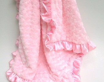 SALE Pink Rose Swirl Baby Blanket