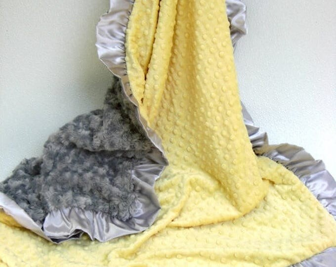 SALE Yellow and Charcoal Gray Minky Blanket Many Sizes Available Can Be Personalized