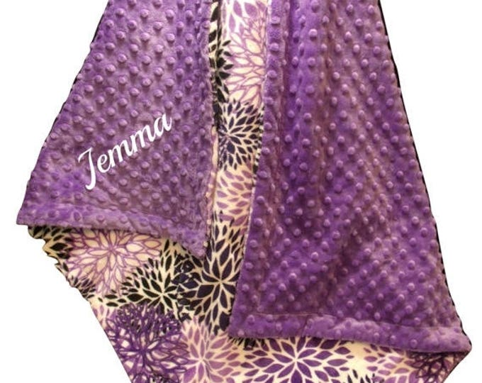SALE Personalized Purple Floral Minky Baby Blanket, Embroidered Violet baby Girl Gift, Orchid Swaddle Blanket