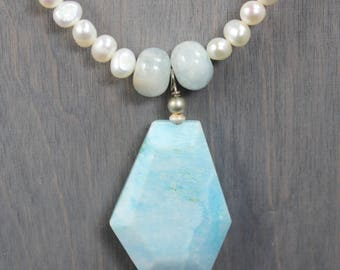 Aquamarine Hemimorphite Pearl Necklace, Aquamarine Pearl Necklace