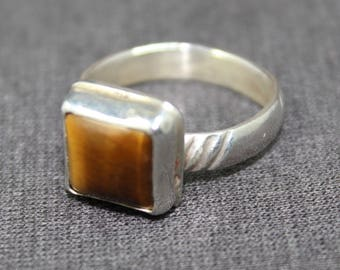Honey Tigereye Square Ring Size 7 1/2, Square Tigereye Ring, Tigereye Gemstone Ring