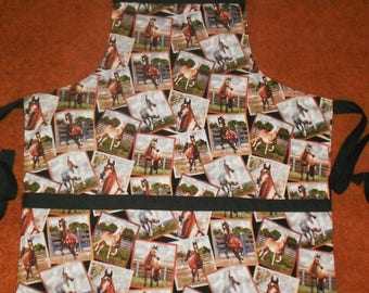 HORSE POSTCARDS  Apron, Fully Lined, Large Pockets, Washable