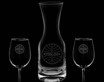Pan American Airways Wine 32 Ounce Carafe & 2 Glass Set