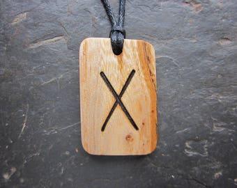 Rare Natural Wood Pendant - English Elm/Gebo - Unique Runic Design.