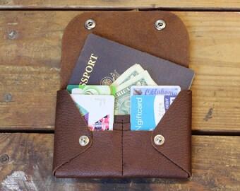 travel wallet - womens wallet - passport wallet - snap wallet - moleskin wallet - leather wallet