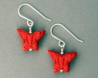 Cinnabar Butterfly Earrings