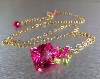 25 OFF Pink Topaz With Peridot and Crystal Gold Filled Necklace
