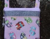Retro Pink Camper Cross Body Bag Purse