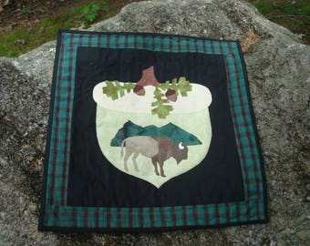 Buffalo Bison Acorn Quilted Wallhanging