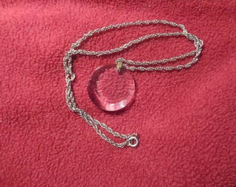 Silvertone Rope Chain With Crystal Cut Round Glass Pendant