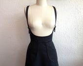 Reserved for Jinna- Black denim suspender skirt- Made to Order