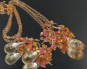30% SALE Rose Gold Necklace Earrings Set Rutilated Quartz Jewelry Set Wire Wrap Gems Mandarin Garnet Madiera Citrine Pink Gem Cluster