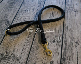 "3' Black High Quality Polyester 9/16"" Spliced Rope Dog Leash with Brass Snap PRE-MADE and Ready to Ship!"