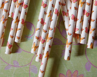 Two Dozen Paper Party Straws - Summer Butterfly Theme