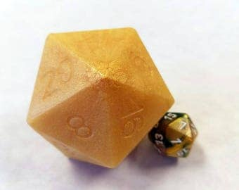 Gold D20 Die Soap with Moving Die Inside | Mango Scented D20 soap | Tabletop Gaming Soap | Dungeons and Dragons Soap | MtG D&D