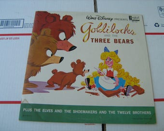 1963 Walt Disney's goldilocks and the three bears  plus the elves and the shoemaker and the twelve brothers Vinyl Record 33-1/3 rpm