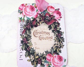 Christmas Tags, Wreath Tags, Vintage Gift Hang Tags, Retro Christmas Decor, Merry Christmas, Happy Holidays Greeting Tag, Handmade Australia