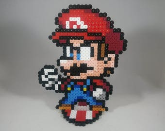 Mario - Super Mario Bros - Nintendo Super Smash Bros - Perler Bead Sprite Pixel Art Figure Stand or Lanyard Necklace