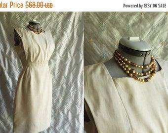 ON SALE 60s Dress // Vintage 1960s Cream Silk Dress Size M