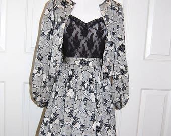 Vintage 1970s Silk Skirt Jacket Bolero Size Small 70s Black White Floral Creeds Toronto Gathered High Waist Skirt Puff Sleeve High End