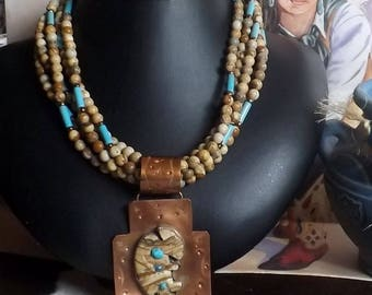 Simply Striking Southwest Turqoise and Picture Jasper Kopelli  Necklace
