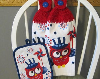 2 Crocheted Hanging Kitchen Towels with Pot Holder - 4th of July Owl