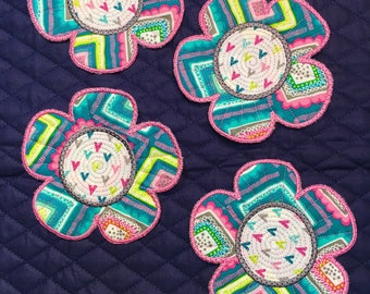 Flower quilted coasters, embroidered mug rug