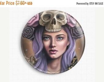 SAVE 30% Needle Minder - Licensed Art Death Head By Emily Luella Cross Stitch Keeper, Fridge Magnet, Pattern Holder, Magnetic Minder, Skull
