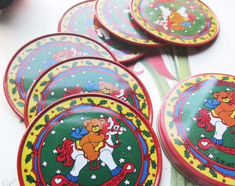 1985 Lucy Rigg Tin Coasters ~ Vintage Drink Coasters ~ holiday Serve ~ Tin and Cork Drink Protectors ~ Lucy Rigg Bears and Rocking Horse ~