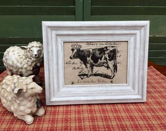 Cow with French Crown, French Country Decor, Farmhouse Decor, Linen Print, Distressed Shabby Chic Frame, French Script Printed on Linen