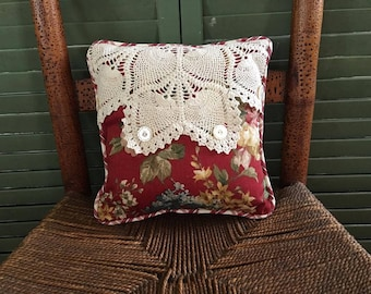 Vintage Lace Pillow, Red and green Check, Red Ticking with Vintage Buttons and Vintage Lace, So PaRiS ApArTmEnT